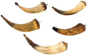 Lot of Five Powder Horns