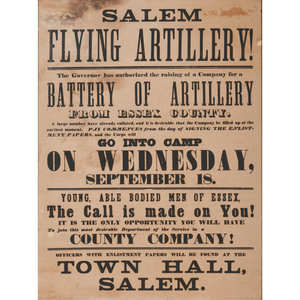 Salem Flying Artillery, Massachusetts Civil War Recruitment Broadside