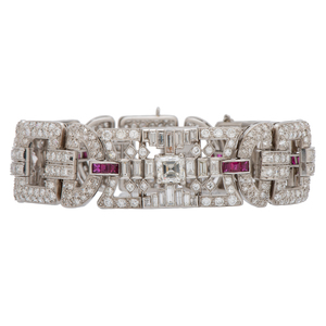 Tiffany & Co. Art-Deco Diamond and Ruby Bracelet in Platinum Ca. 1920's