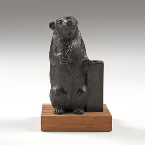 William McVey (American,1905-1995) Bronze Rowfant Club Candlestick