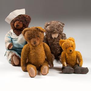 American Plush Teddy Bears, Lot of Four