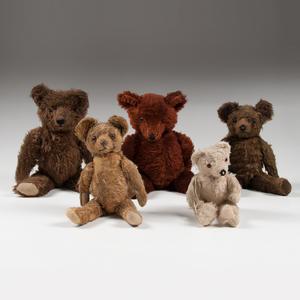 Knickerbocker Teddy Bears, Lot of Five