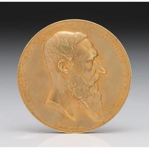 King Leopold II 14K Gold and Gold Quartz Match Safe
