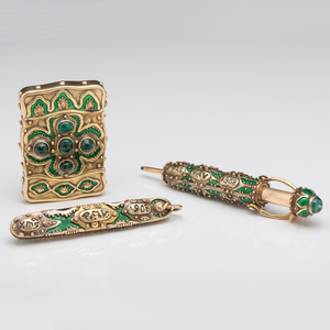 Rare Marcus & Co. Match Safe, Pencil and Pen Knife Set in Gold, Enamel and Emeralds