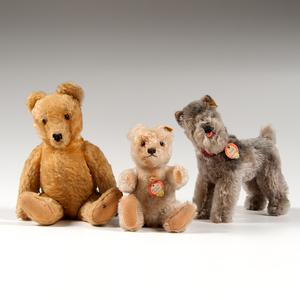 Steiff Teddy Bears and Terrier, Lot of Three
