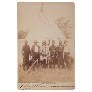 Very Rare Sitting Bull Cabinet Card by Gilbert & Bacon