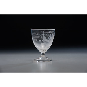Blown and Cut, Etched Glass Wine Goblet Commemorating the Capture of Gibraltar in 1704