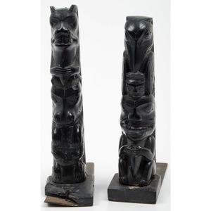 Haida Argillite Totem Pole Bookends
