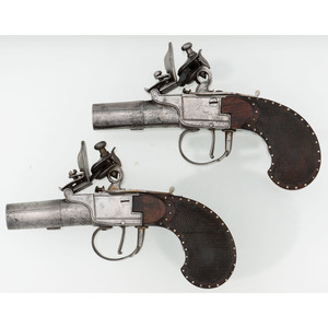 Contemporary Case Set Of French Muff Pistols By Aubron a Nantes