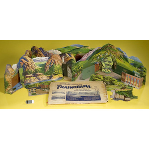 Chromolithographed American Flyer Trainorama Layout in Original Box,