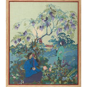 Chinese Embroidery with Landscape and Figures