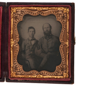 Confederate Sixth Plate Ambrotype of North Carolina Father and Son