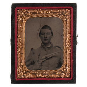 Confederate Tintype of Soldier Armed with Colt Revolver