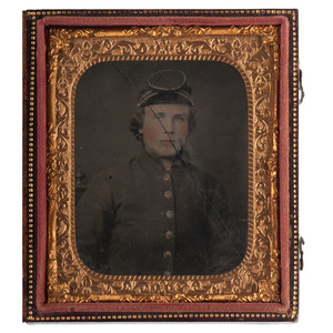 Confederate Sixth Plate Ambrotype Possibly Showing Private William A. Cooper, 61st Virginia Volunteers