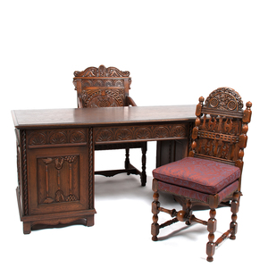 Kittinger Carved Oak Desk and Chairs