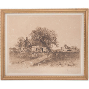 The Birthplace of Abraham Lincoln, 1897 Print by L.H. King, Signed by the Artist