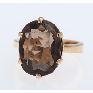 18 Karat Yellow Gold Smoky Quartz Ring