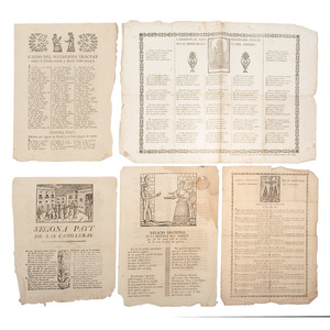 [European Printing - Broadsheets] Collection of 12 Mid-19th Century Spanish Broadsheets, Many with Woodcut Illustrations and Figures