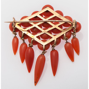 18 Karat Gold French Victorian Coral and Gold Brooch