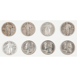 Six United States Standing Liberty Quarters PLUS Three Bicentennial Quarters