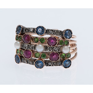 14 Karat Rose Gold Multi Stone Harem Ring