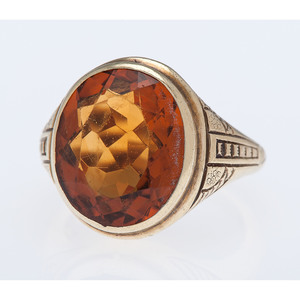 14 Karat Yellow Gold Egyptian Revival Style Citrine Ring