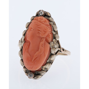 10 Karat Yellow Gold Diamond and Coral Cameo Art Nouveau Ring