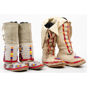 Plains Child's Beaded Hide Boot Moccasins, From an Old Nebraska Collection
