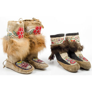 Northern Cree Beaded and Embroidered Hide Moccasins, From an Old Nebraska Collection