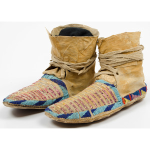 Northern Plains Beaded and Quilled Hide Moccasins,  From an Old Nebraska Collection