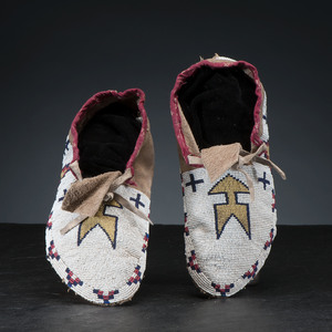 Cree / Blackfeet Beaded Hide Moccasins, Collected by Gustav (Gus) Sigel (1837-1923)