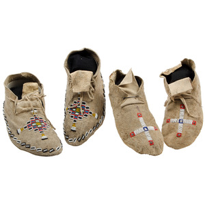 Cheyenne Beaded Hide Moccasins, From an Old Nebraska Collection