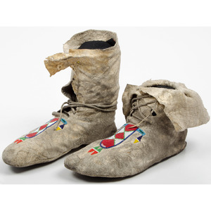 Southern Plains Beaded High-Top Moccasins, From an Old Nebraska Collection