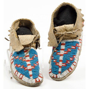 Sioux Beaded Hide Moccasins, From an Old Nebraska Collection