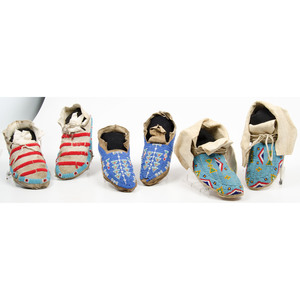 Northern Plains Beaded Hide Moccasins, From an Old Nebraska Collection