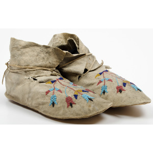 Santee Sioux Beaded Hide Moccasins, From an Old Nebraska Collection