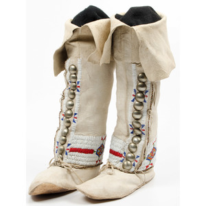 Cheyenne Beaded Hide Boot Moccasins, From an Old Nebraska Collection