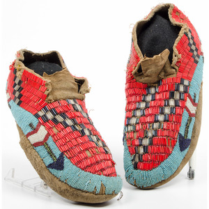 Plateau Beaded Hide Soft-Soled Moccasins, From an Old Nebraska Collection
