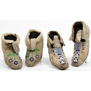 Flathead and Plateau Beaded Hide Moccasins, From an Old Nebraska Collection