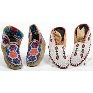 Cree Beaded Hide Moccasins, From an Old Nebraska Collection