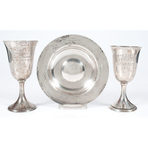 Tiffany Sterling Trophy Dish and Trophy Goblets