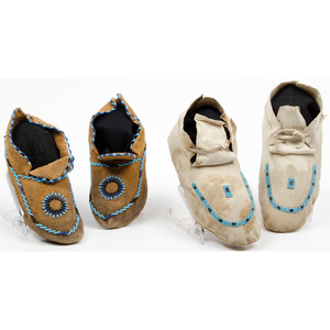 Plains Beaded Hide Moccasins, Including One Marked