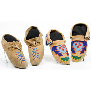 Plateau Beaded Hide Moccasins, From an Old Nebraska Collection
