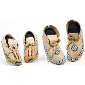 Southern Plains Beaded Hide Moccasins, From an Old Nebraska Collection