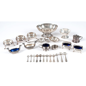 Sterling Salts, Dishes and Tea Strainers