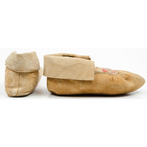 Anishinaabe Beaded and Embroidered Hide Moccasins, From an Old Nebraska Collection