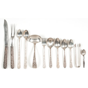 Sterling Silver Flatware with Floral Repoussé Decoration