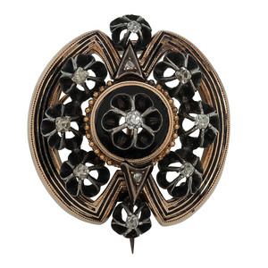 14 Karat Yellow Gold and Silver Victorian Diamond Brooch