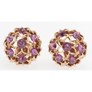 10 Karat Rose Gold Garnet Earrings