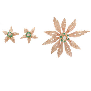 Karat Gold Diamond and Emerald Earrings and Brooch/Pendant